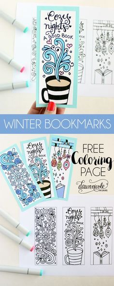 NEW DESIGNS! Free Winter Bookmarks Coloring Page + A Wintery Printable Blog Hop with some of my bloggy friends! dawnnicoledesigns.com: