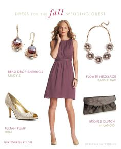 A dressy casual dress for a September wedding guest. A pretty mauve dress with accessories ideas to wear to fall weddings. A dressy casual dress for a September wedding guest. A pretty mauve dress with accessories ideas to wear to fall weddings. Dressy Casual Wedding, Casual Wedding Guest Dresses, Fall Wedding Outfits, How To Dress For A Wedding, Wedding Attire, Trendy Wedding, Wedding Boots, Wedding Dresses, Casual Fall