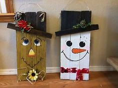 Rustic-Handmade-Reversible-Snowman-scarecrow-Fence-pallet-Wood-Sign