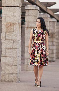 cute & little blog   party outfit   choies garden print dress, gold belt, sole society tierra cap toe heels, bow bracelet