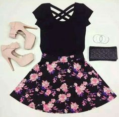 Teen fashion at it's finest ; Pink Fashion, Teen Fashion, Fashion Outfits, Fashion Heels, Dress Fashion, Skirt Outfits, Dress Skirt, Heels Outfits, Sexy Bikini