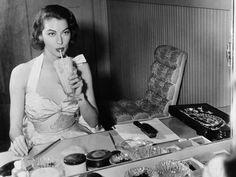 Ava Gardner getting ready and enjoying a milkshake