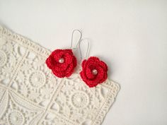 Christmas red earrings mini crochet by ElenaCrochetShop on Etsy