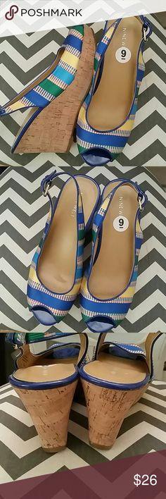 Nine West open toe cork wedge heels Multi color open toe cork wedges. 3 inch heel. Adjustable strap. Nine West Shoes Wedges