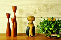 Pelle by Lisa Larson - Gustavsberg 1960s - Danish teak turned wood candle holders