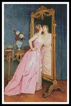 Auguste Toulmouche Vanity 1889 Private Collection x Fine Art Giclee Canvas Print (Unframed) Reproduction – Artsy Sister - Art Supplies and Tamara Lempicka, Marina And The Diamonds, Painting Wallpaper, Oil Painting Reproductions, Classical Art, Oil Painting On Canvas, Painting Trees, Painting Portraits, Painting Flowers