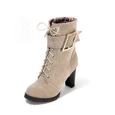 Frauen Stiefel Stiefelette Stämmiger Absatz Wildleder Schuhe