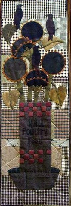 PPL076 Something to Crow About-pieced, door hanger, wool applique Primitive Pieces by Lynda
