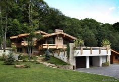 l Wooden Architecture, Architecture Design, House In The Woods, My House, Chalet Modern, Hillside House, Spanish House, Stone Houses, Mid Century House