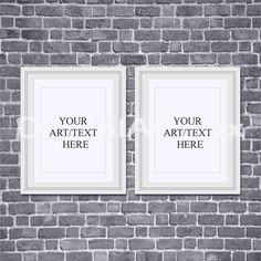8x10 white frameset of two16x20mockup frame 24x30 black brick backgroundframed artstyled photography mockupinstant download