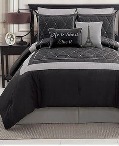 Victoria Classics Versailles Comforter Set comes in blue and brown, brown and white, and red and white. on amazon, but also comes in black and gray. $90