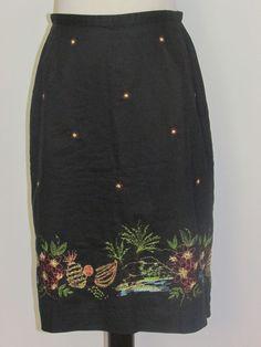 CASUAL CORNER ANNEX Sz 4 Black Cotton Skirt Beach Embroidery Pineapple Palm Tree #CasualCornerAnnex #ALine