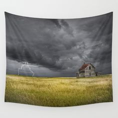 Thunderstorm on the Prairie with abandoned farmhouse Wall Tapestry