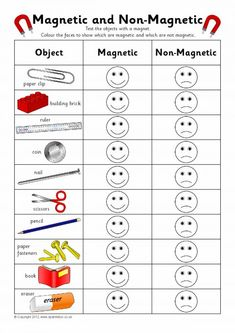 Magnetic & non-magnetic sorting record chart Grade 2 Science, Preschool Science, Elementary Science, Science Classroom, Science Lessons, Teaching Science, Science For Kids, Science Activities, Teaching Resources