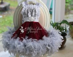 2013 Christmas dress for little girls. Grey and burgundy feather lace tutu holiday dress. Hey, I found this really awesome Etsy listing at http://www.etsy.com/listing/168193320/miraculous-girls-feather-dress