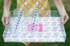 Monogrammed Summer Lucite Serving Tray by PureJoyPaperie on Etsy, $32.00 --- check out the multiple adorable patterns!!!
