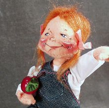 Old Annalee Doll Society Logo Doll - 1992 School Girl