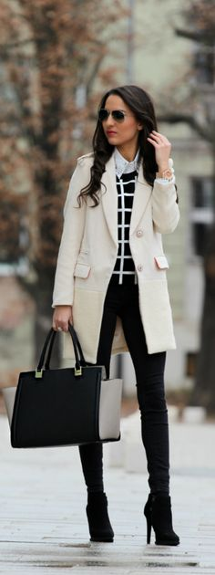 white pea coat, black pants