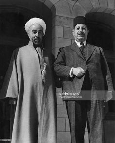 King Abdullah I of Transjordan (later Jordan) (1882 - 1951, left) with Egyptian Prime Minister Mahmoud Fahmi an-Nukrashi Pasha (1888 - 1948) at Raghadan Palace in Amman, Jordan, 27th October 1948. Leaders of the Arab states are meeting to discuss the situation in Palestine.