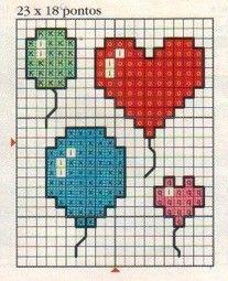 Essa Postagem é de agradecimento a vocês que fazem o Karillinhas, pois estamos comemoramos as 1.000 visitas ! Obrigado a Todaaas vocês são D... Mini Cross Stitch, Cross Stitch Embroidery, Embroidery Patterns, Knitting Patterns, Pixel Crochet Blanket, Baby Cross Stitch Patterns, Heart Balloons, Square Patterns, Bead Art