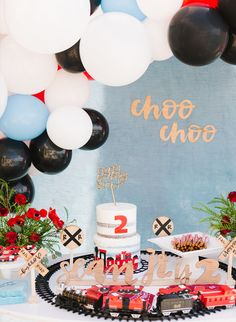 Choo Choo, This Train Birthday Party is Two Cute! – Inspired By This Train Birthday Party is Two Cute 2nd Birthday Party For Boys, Cake Table Birthday, Second Birthday Ideas, Trains Birthday Party, Birthday Party Decorations, Kids Birthday Themes, Baby Birthday, Zug Party, Sweet 16