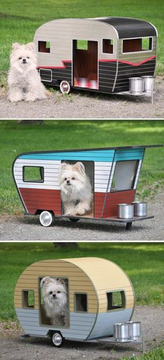 We have campers for humans, so why not dogs, too? Pet owners that love to pamper their pooches can now provide them with tiny kennels that are designed to look like the smaller version of what we'd take on vacation. I Love Dogs, Cute Dogs, Pallet Dog House, Custom Dog Houses, Large Dog House, Funny Animals, Cute Animals, Funny Pets, Old Dogs
