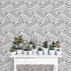 Black And White - Betapet Monochrome Diamond Wallpaper,$36Urban Outfitters Chasing Paper And Kate Zaremba Swansy Removable Wallpaper, $59Anewall Bouquet Of White Peonies Mural, $449Tempaper Shop Brick White, $125