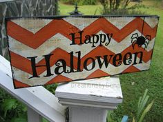Hand Painted Happy Halloween Wood Sign Distressed Orange And White Chevron