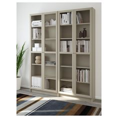 The Corner Ikea Billy Bookcase Hack Bookcase With Glass Doors, Glass Cabinet Doors, Glass Shelves, China Cabinet, Ikea Billy Bookcase Hack, Ikea Shelves, Billy Bookcases, Room Interior, Interior Design Living Room