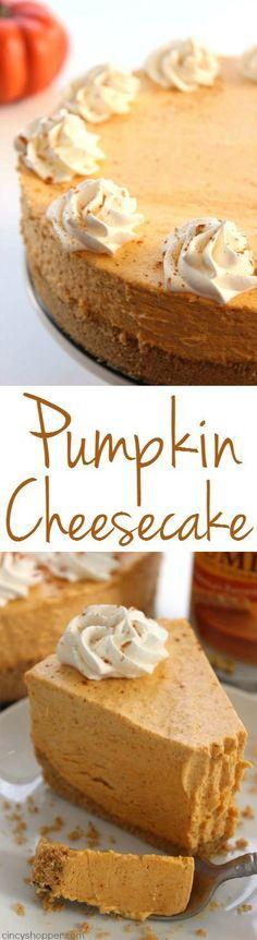 No Bake Pumpkin Cheesecake -Super easy fall and Holiday dessert. Pumpkin dessert…