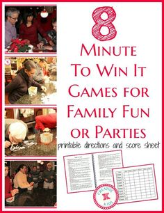 Printable directions, pictures, videos, and score sheet for 8 fun Minute-to-Wn-It games!