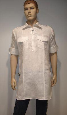 G3 Fashions White Linen Short Pathani Kurta  Product Code : G3-MSP1007 Price : INR RS 2095