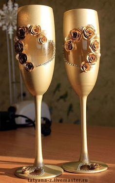 """Купить Свадебные бокалы """"Розы в шампанском"""" - свадебные бокалы, свадебные аксессуары, стразы, Стразы swarovski"""