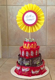 Life is sweet. Candy bar cake