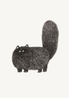 Fuzzy Cat Illustration by kamweiatwork: