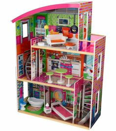 KidKraft Designer Dollhouse Three levels of open space Side windows let you view dolls from various views Large enough that multiple children can play at once Doll House Crafts, Curved Staircase, Spiral Staircases, Multiplication For Kids, Barbie Doll House, Dollhouse Furniture, Dollhouse Toys, Playhouse Furniture, Dollhouse Design