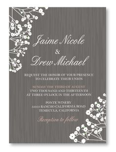 Romantic Baby's Breath is a beautiful wedding invitation design for romantic, shabby chic or spring weddings.