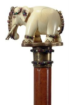 AN INDIAN JEWELED AND IVORY CANE LATE 19TH_EARLY 20TH CENTURY