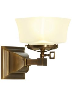 Solid Brass Mission Style Single Gas Sconce Shown in Antique Brass Finish and Square Arts & Crafts Gas Shade | House of Antique Hardware