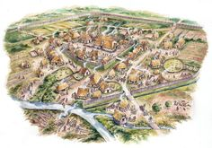 A typical Anglo-Saxon Burh by David Hobbs Fantasy City Map, Fantasy Town, Fantasy Castle, Fantasy World, Anglo Saxon History, Ancient History, European History, Ancient Aliens, American History