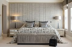 One of the four bedrooms, individually designed by Hill House Interiors