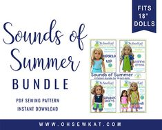 Your 18 inch doll can beat the summer heat with this pattern bundle of four patterns to make a complete summer wardrobe. Four Patterns Included: Popsicle Top: (Reversible crop top) Sandbox Shorts: (With working pockets in three lengths) Sunshine Dress: (Short sleeve a-line dress with three