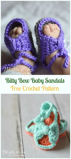 Crochet Bitty Bow Baby Sandals Free Pattern-Crochet Baby Sandals Free Patterns