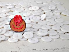 Wood Slice & Red Button Ring Red Boiled Sweets by P8ButtonArt, €14.00