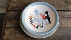 Your place to buy and sell all things handmade Vintage c. Charming Mid-Century Scandinavian childrens bowl and plate set The pattern on both
