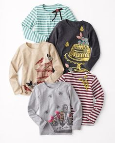 Art Graphic and Striped Tees by Magpie & Mabel - Girls crimson stripe size 5