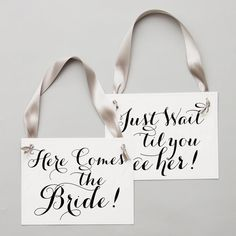 Two Wedding Signs Here Comes The Bride Just Wait Til You See | Etsy Rose Gold Ribbon, Grey Ribbon, Ribbon Colors, Funny Wedding Signs, Wedding Humor, Flower Girl Signs, Ring Bearer Signs, Rings For Girls, Second Weddings