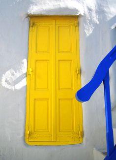 yellow door Mykonos, Greece. Yellow window shutters. Love the colour. Taken by me.