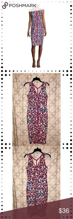NWT floral sleeveless dress Great dress by Nicole Miller T-strap neckline with a small slit in the front of the dress New with tags  Photos taken with and without flash  Bundle and save, I'll make a private offer 🛍🛍🛍 Nicole Miller Dresses