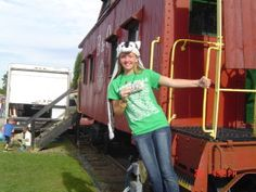 Hayley Jackson on the Caboose at the B&O Depot.  2015 Pumpkin Festival, 2015